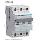 INTERRUTTORE AUTOMATICO MAGN. 3P 6A 6KA C 3M HAGER COD. MCA306