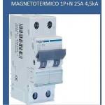 INTERRUTTORE AUTOM.1P+N 25A 4,5KA C 2M HAGER COD.MYN525
