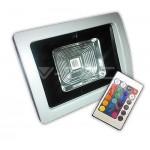 FARO PROIETTORE LED 10W RGB 230V ESTERNO GRIGIO C/ RADIOCOMANDO V-TAC VTAC 5369
