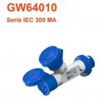 ADATTATORE MOLTIPLICATORE PRESE CEE ST. 2U 2P+T 16A 230V 6H IP67 GEWISS GW64010