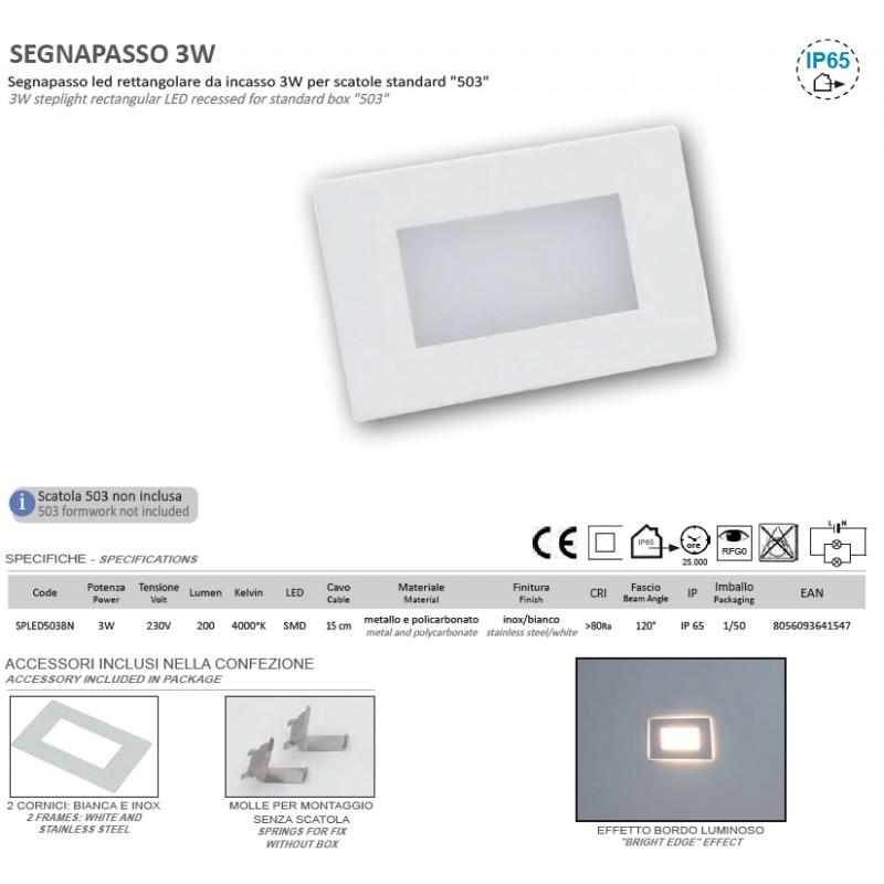 Segnapasso led per scatola 503 ip65 con cornice bianca - Luci di emergenza casa ...
