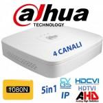 DVR IBRIDO 4CH HDCVI AHD TVI CVBS 2 CANALI IP 1080N H265 P2P DAHUA XVR4104C-X