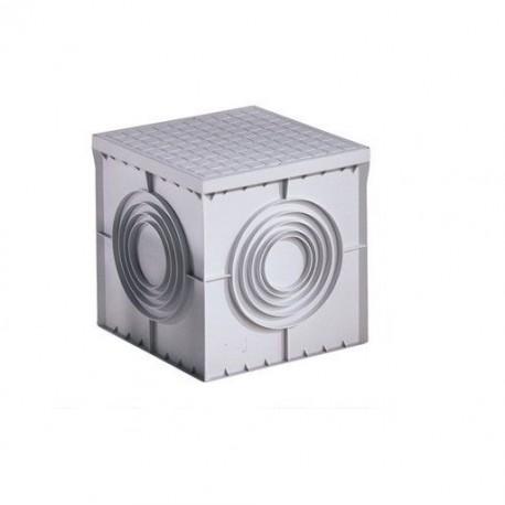 POZZETTO CHIUSINO PVC CARRABILE 30X30 CM CON COPERCHIO GRIGIO
