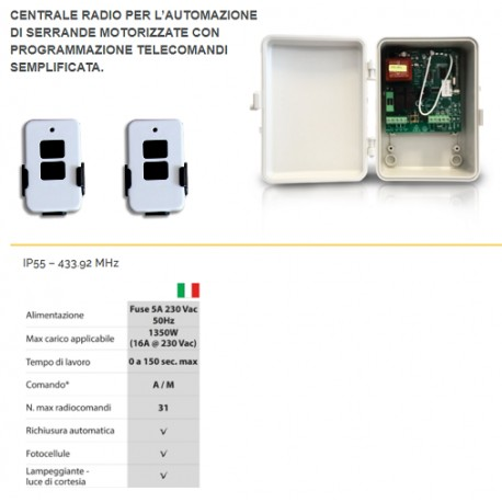 KIT UNIVERSALE CENTRALE PER SERRANDE + 2 RADIOCOMANDI 433MHZ 230V IP55 ACM
