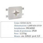 CORPO SPOT SQUARCIO IN GESSO INCASSO SCOMPARSA CARTONGESSO GU10 22X22X3.5 CM