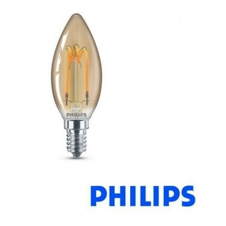 LAMPADINA OLIVA LED FIAMMA VINTAGE B35 E14 230V 2.3W-14W 2000K 125lm PHILIPS